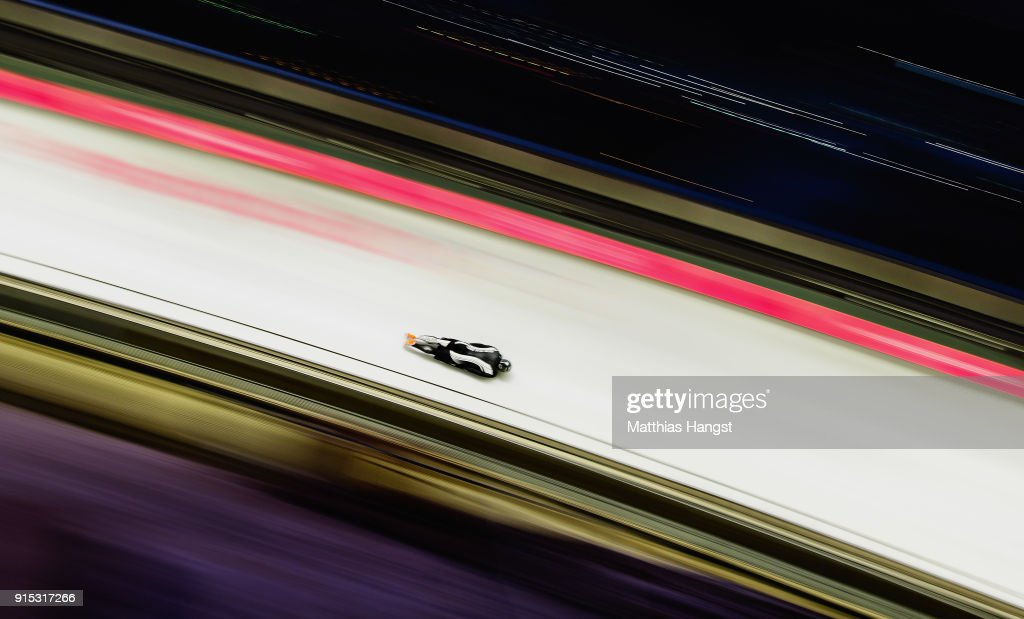 Rhys Thornbury of New Zealand practices during Men's Skeleton training ahead of the PyeongChang 2018 Winter Olympic Games at the Olympic Sliding Centre on February 7, 2018 in Pyeongchang-gun, South Korea.