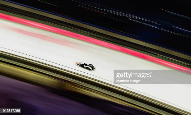 Rhys Thornbury of New Zealand practices during Men's Skeleton training ahead of the PyeongChang 2018 Winter Olympic Games at the Olympic Sliding...