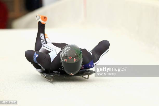 Rhys Thornbury of New Zealand takes a training run in the Men's Skeleton during the BMW IBSF Bobsleigh + Skeleton World Cup at Utah Olympic Park...