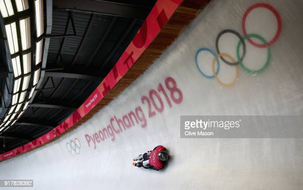 Rhys Thornbury of New Zealand trains during the Mens Skeleton training session on day four of the PyeongChang 2018 Winter Olympic Games at Olympic...
