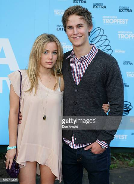 Rhys Wakefield and guest arrives for the Movie Extra Tropfest 2009 in the Domain on February 22 2009 in Sydney Australia