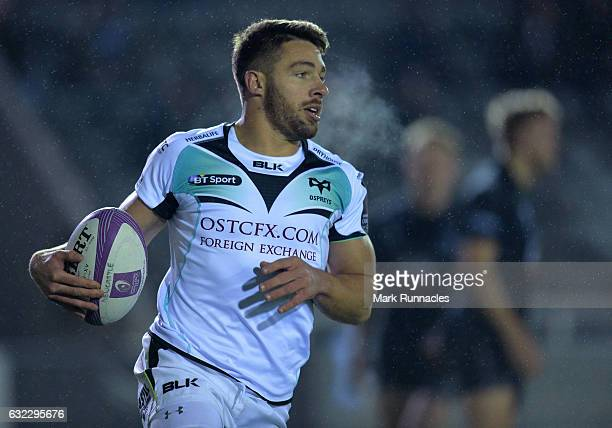 Rhys Webb of Ospreys Rugby scores a try in the first half during the European Rugby Challenge Cup pool 2 match between Newcastle Falcons and Ospreys...