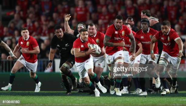 Rhys Webb of the Lions makes a break during the third test match between the New Zealand All Blacks and the British Irish Lions at Eden Park on July...