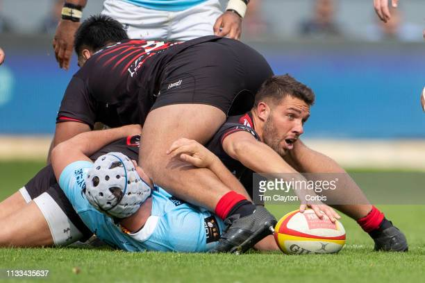 March 3: Rhys Webb of Toulon lays the ball back after being tackled during the Perpignan V RC Toulon, Top 14 regular season rugby match at Stade...