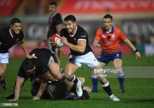 Rhys Webb of Wales breaks away during the Autumn Nations Cup 2020 match between Wales and Georgia at Parc y Scarlets on November 21, 2020 in...