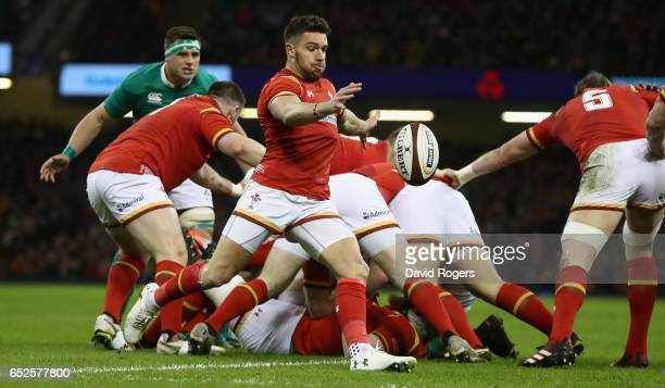 Rhys Webb of Wales kicks the ball upfield during the RBS Six Nations match between Wales v Ireland at the Principality Stadium on March 10 2017 in...