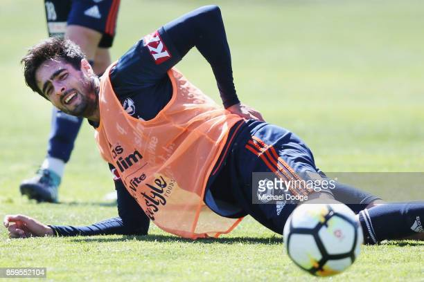 Rhys Williams feels for his back after a contest during a Melbourne Victory ALeague training session at Gosch's Paddock on October 10 2017 in...