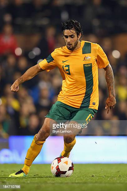 Rhys Williams of Australia in action during the International Friendly between Canada and Australia at Craven Cottage on October 15 2013 in London...