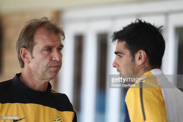 Rhys Williams of Australia talks with coach Pim Verbeek after an Australian Socceroos training session at St Stithians College on June 2 2010 in...