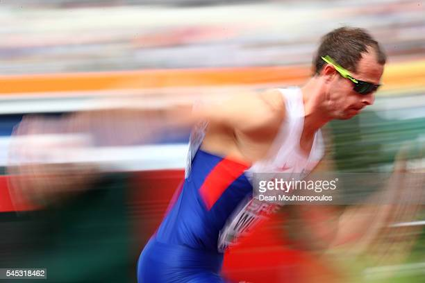 Rhys Williams of Great Britain in action during his 400m hurdles semi final on day two of The 23rd European Athletics Championships at Olympic...