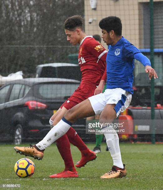 Rhys Williams of Liverpool and Ellis Simms of Everton in action during the Everton v Liverpool U18 Premier League game at USM Finch Farm on February...