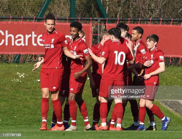 Rhys Williams of Liverpool celebrates his goal with team mates during the U18 Premier League game at The Kirkby Academy on February 27 2019 in Kirkby...