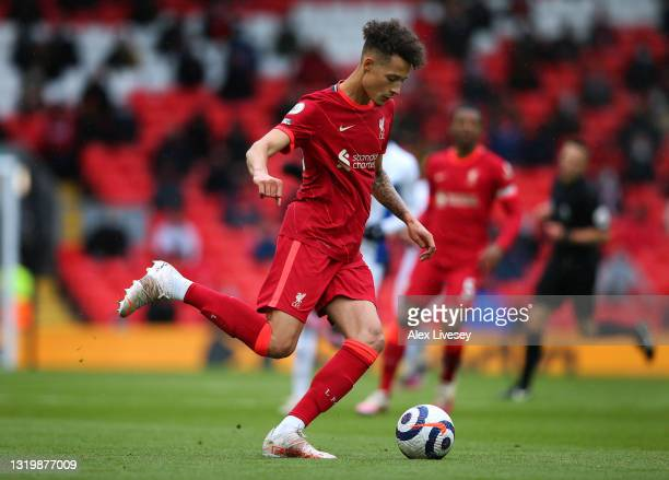 Rhys Williams of Liverpool during the Premier League match between Liverpool and Crystal Palace at Anfield on May 23, 2021 in Liverpool, England.
