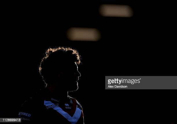 Rhys Williams of London Broncos looks on during the Betfred Super League match between Salford Red Devils and London Broncos at AJ Bell Stadium on...