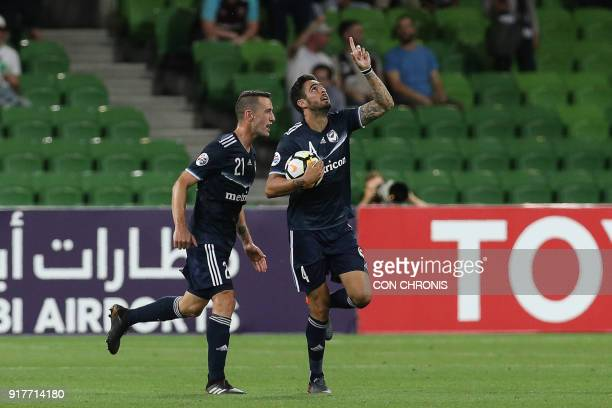Rhys Williams of Melbourne Victory celebrates with teammates after scoring a goal against Ulsan Hyundai during their AFC Champions League Group F...