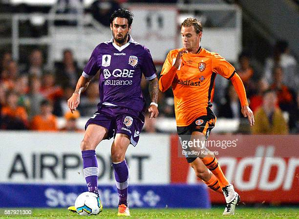 Rhys Williams of the Glory breaks away from the defence during the FFA Cup round of 32 match between the Brisbane Roar and Perth Glory at Ballymore...