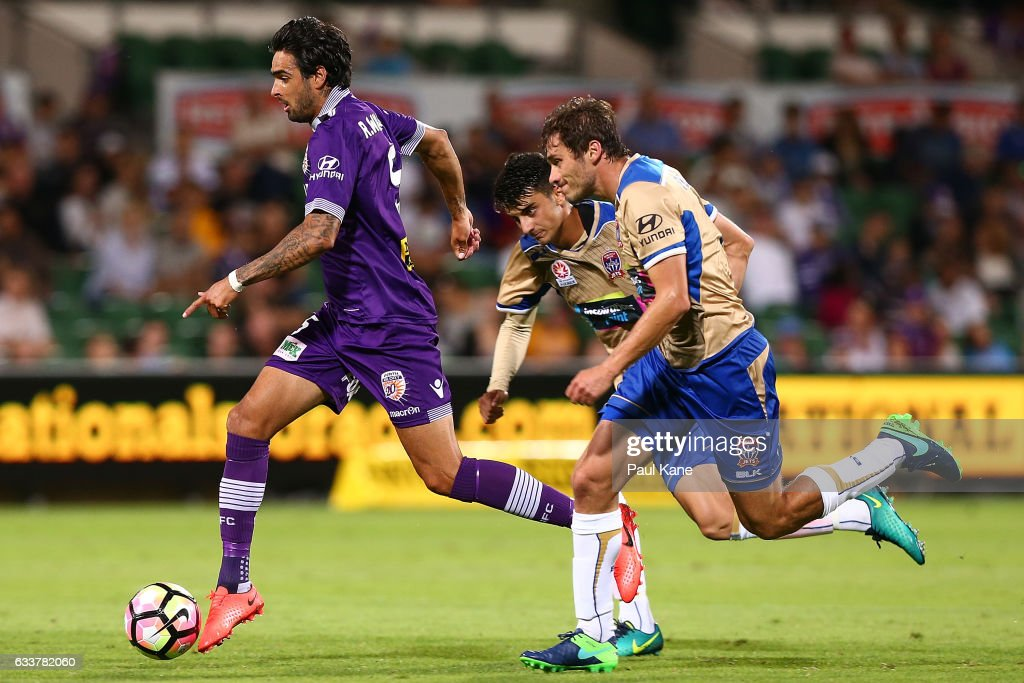 Rhys Williams of the Glory controls the ball during the round 18 A-League match between the Perth Glory and the Newcastle Jets at nib Stadium on February 4, 2017 in Perth, Australia.
