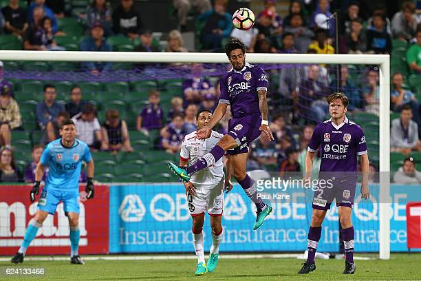 Rhys Williams of the Glory heads the ball clear during the round seven ALeague match between the Perth Glory and Adelaide United at nib Stadium on...