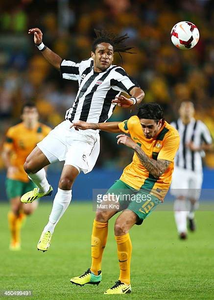 Rhys Williams of the Socceroos challenges Jonathan McDonald of Costa Rica during the international friendly match between the Australian Socceroos...