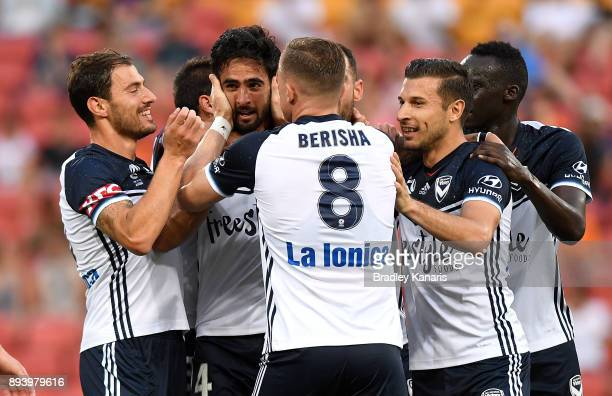 Rhys Williams of the Victory celebrates scoring a goal during the round 11 ALeague match between the Brisbane Roar and the Melbourne Victory at...