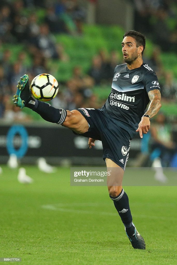 Rhys Williams of the Victory controls the ball during the round 13 A-League match between the Melbourne Victory and the Newcastle Jets at AAMI Park on December 29, 2017 in Melbourne, Australia.
