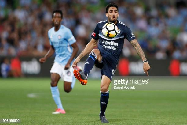 Rhys Williams of the Victory controls the ball during the round 22 ALeague match between Melbourne City FC and Melbourne Victory at AAMI Park on...
