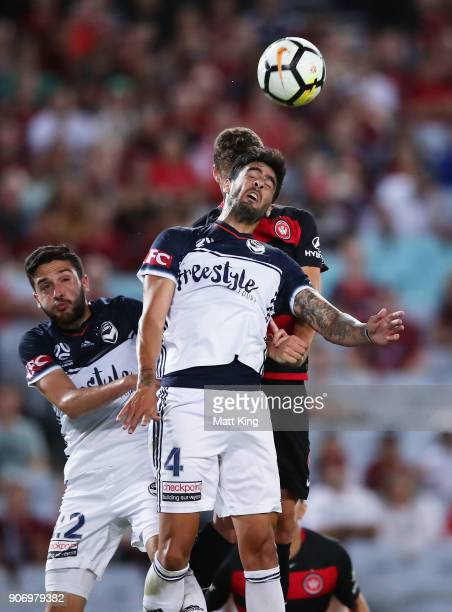 Rhys Williams of the Victory heads the ball during the round 17 ALeague match between the Western Sydney Wanderers and the Melbourne Victory at ANZ...