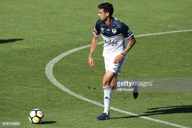 Rhys Williams of the Victory looks to pass the ball during the round seven ALeague match between Perth Glory and Melbourne Victory at nib Stadium on...