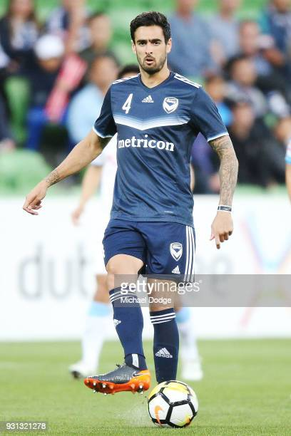 Rhys Williams of the Victory passes the ball during the AFC Asian Champions League match between the Melbourne Victory and Kawasaki Frontale at AAMI...