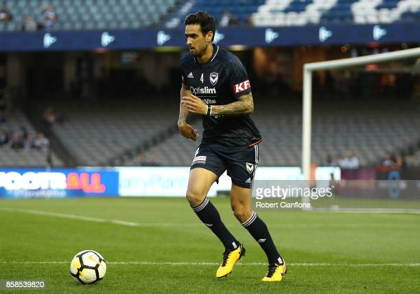 Rhys Williams of the Victory warms up for the round one ALeague match between the Melbourne Victory and Sydney FC at Etihad Stadium on October 7 2017...