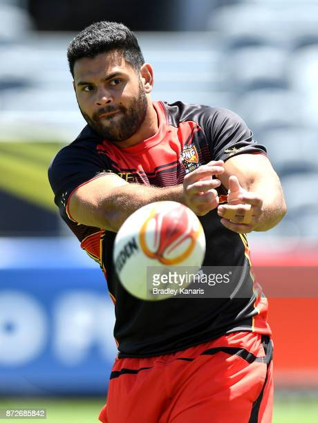Rhyse Martin passes the ball during a PNG Kumuls Rugby League World Cup captain's run on November 11 2017 in Port Moresby Papua New Guinea