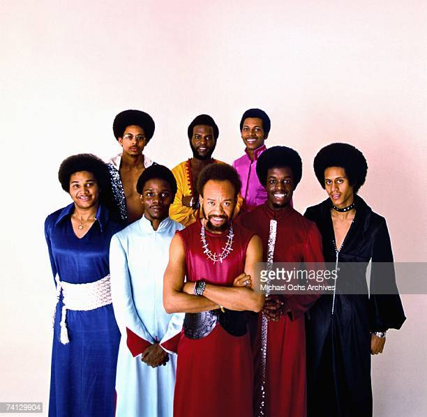 Rhythm and Blues group Earth Wind And Fire pose for publicity photo circa 1972