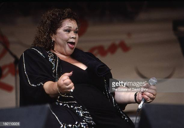 Rhythm and blues singer Etta James performs at the New Orleans Jazz and Heritage Festival in April 1994 in New Orleans Louisiana