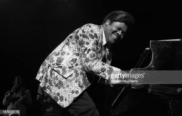 Rhythm and blues singer songwriter and pianist Fats Domino performs at the Hammersmith Odeon on March 19 1978 in London UK