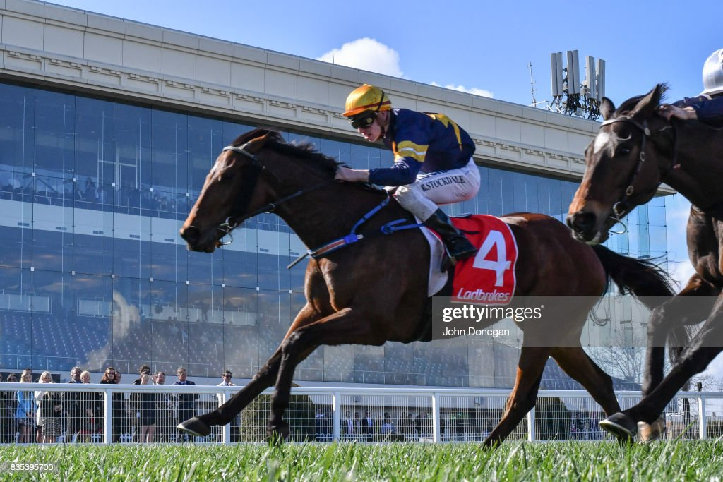 Rhythm to Spare (NZ) ridden by Brandon Stockdale wins the Ramlegh Springs On Clyde Handicap at Caulfield Racecourse on August 19, 2017 in Caulfield, Australia.