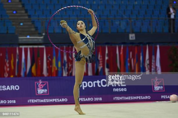 Rhythmic gymnast AGIURGIUCULESE Alexandra of Italy performs her hoop routine during the FIG 2018 Rhythmic Gymnastics World Cup at Adriatic Arena on...