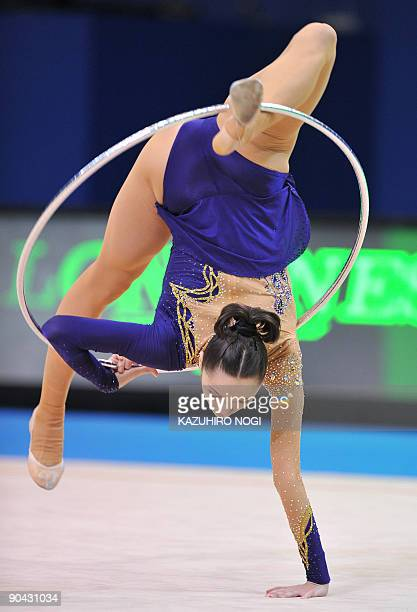 Rhythmic gymnast Anna Bessonova of Ukraine performs with a hoop during a qualification round of the Rhythmic Gymnastics World Championships in Ise in...