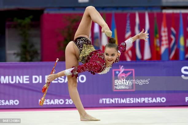 Rhythmic gymnast Arina Averina of Russia performs her clubs routine during the FIG 2018 Rhythmic Gymnastics World Cup at Adriatic Arena on 15 April...