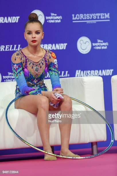 Rhythmic gymnast Arina Averina of Russia performs her hoop routine during the FIG 2018 Rhythmic Gymnastics World Cup at Adriatic Arena on 15 April...