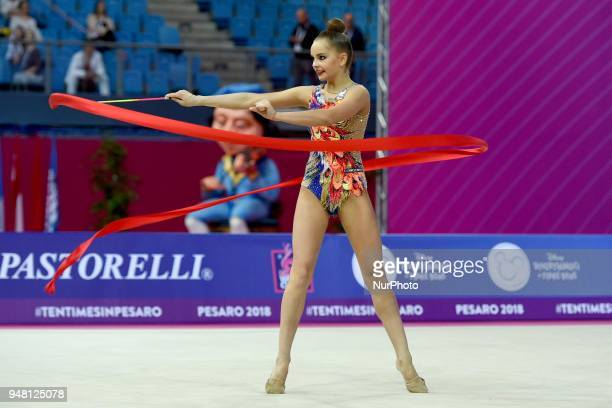 Rhythmic gymnast Arina Averina of Russia performs her ribbon routine during the FIG 2018 Rhythmic Gymnastics World Cup at Adriatic Arena on 15 April...