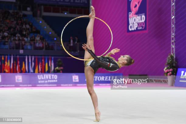 Rhythmic gymnast Boryana KALEYN of Bulgaria performs her hoop routine during the FIG 2019 Rhythmic Gymnastics World Cup at Vitrifrigo arena on 7...