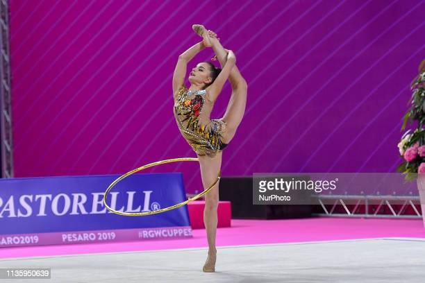 Rhythmic gymnast Dina AVERINA of the Russian Federation performs her hoop routine during the FIG 2019 Rhythmic Gymnastics World Cup at Vitrifrigo...