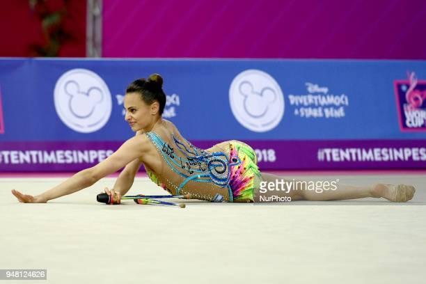 Rhythmic gymnast Linoy Ashram of Israel performs her clubs routine during the FIG 2018 Rhythmic Gymnastics World Cup at Adriatic Arena on 15 April...