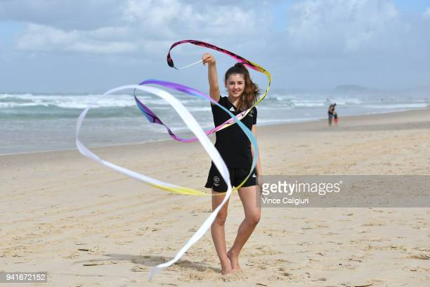 Rhythmic gymnastics athlete Stella Ebert of New Zealand performs a routine on Surfers Paradise beach ahead of the 2018 Commonwealth Games on April 4...