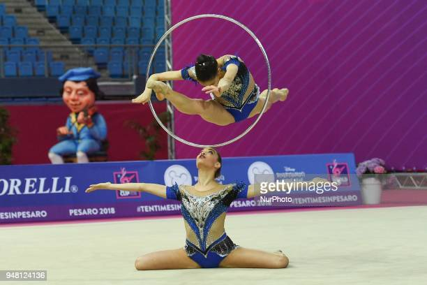 Rhythmic gymnastics team of Italy performs its 5 hoops routine during the FIG 2018 Rhythmic Gymnastics World Cup at Adriatic Arena on 15 April 2018...