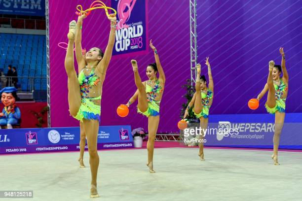 Rhythmic gymnastics team of Japan performs its 3 balls 2 ropes routine during the FIG 2018 Rhythmic Gymnastics World Cup at Adriatic Arena on 15...