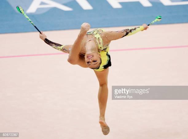 Rhythmische Sportgymnastik Olympische Spiele Athen 2004 Athen Einzel / Mehrkampf / Keule Alina KABAEVA / RUS GOLD 290804