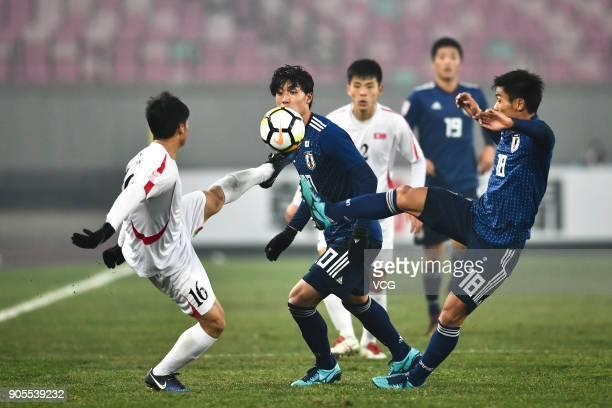 Ri Hun of North Korea kicks the ball during the AFC U-23 Championship Group B match between Japan and North Korea at Jiangyin Stadium on January 16,...
