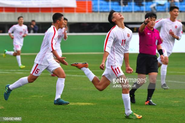 Ri Il Song of April 25 Sports Club of North Korea celebrates his goal against Gangwon-do team of South Korea during their match of the 5th Ari Sports...