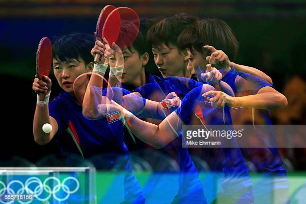 Ri MyongSun of the Democratic People's Republic of Korea practices during a training session for table tennis at Riocentro Pavilion 3 on August 3...